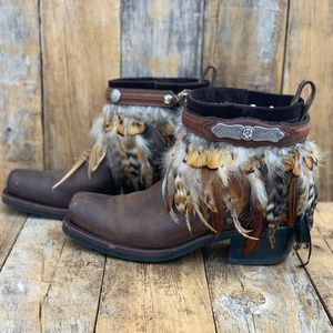 Us 9.5, Boho Boot, ankle boot, upcycled Frye Boot